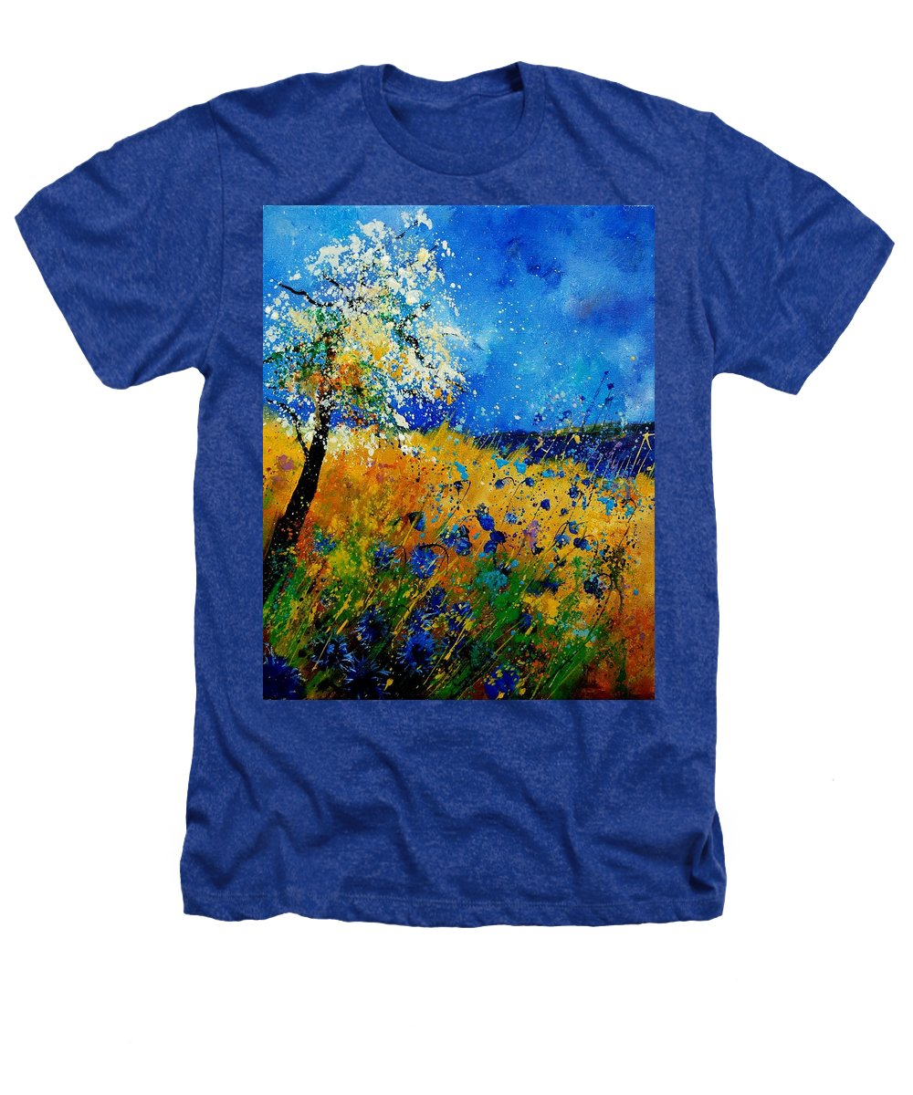 Poppies Heathers T-Shirt featuring the painting Blue Cornflowers 450108 by Pol Ledent