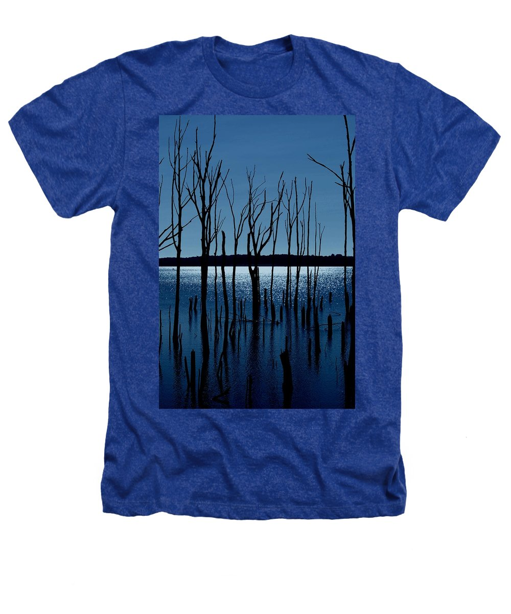 Nature Landscapes Heathers T-Shirt featuring the photograph Blue Reservoir - Manasquan Reservoir by Angie Tirado