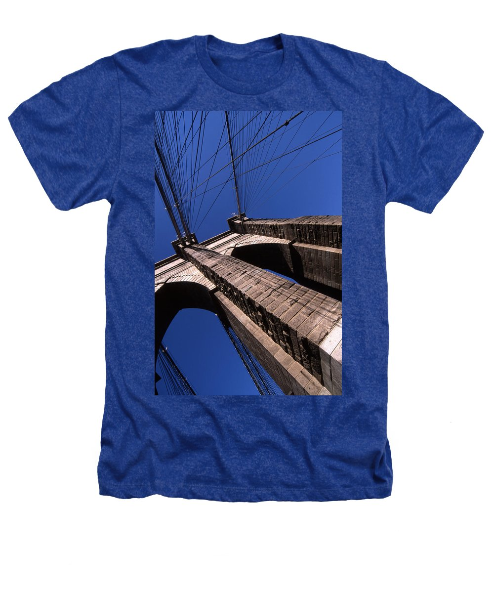 Landscape Brooklyn Bridge New York City Heathers T-Shirt featuring the photograph Cnrg0408 by Henry Butz