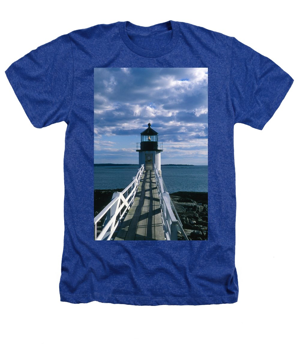 Landscape Lighthouse New England Marshall Point Light Port Clyde Heathers T-Shirt featuring the photograph Cnrh0603 by Henry Butz