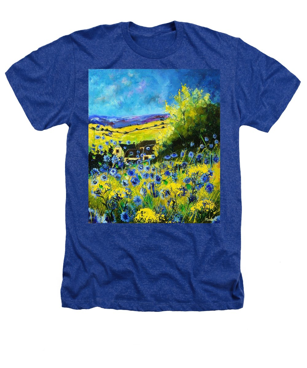 Flowers Heathers T-Shirt featuring the painting Cornflowers In Ver by Pol Ledent