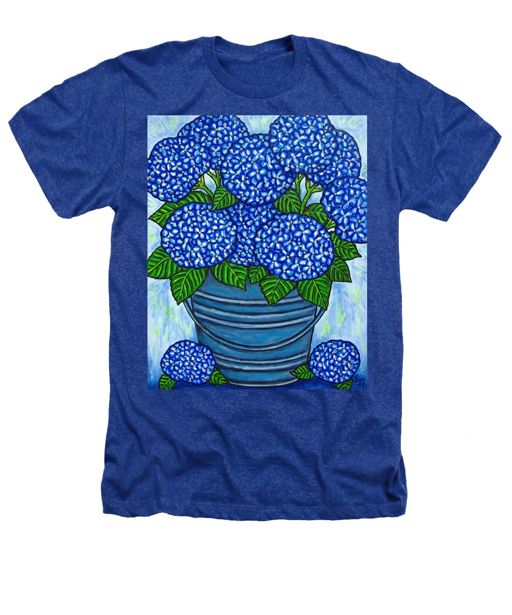 Blue Heathers T-Shirt featuring the painting Country Blues by Lisa Lorenz