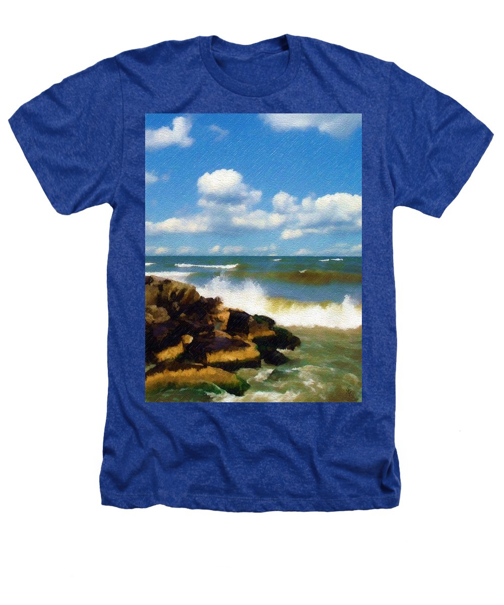 Seascape Heathers T-Shirt featuring the photograph Crashing Into Shore by Sandy MacGowan