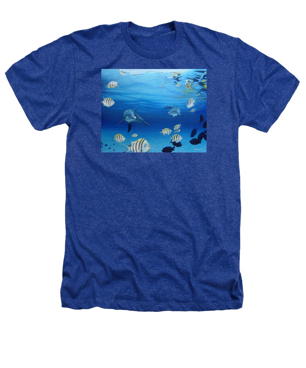 Seascape Heathers T-Shirt featuring the painting Delphinus by Angel Ortiz