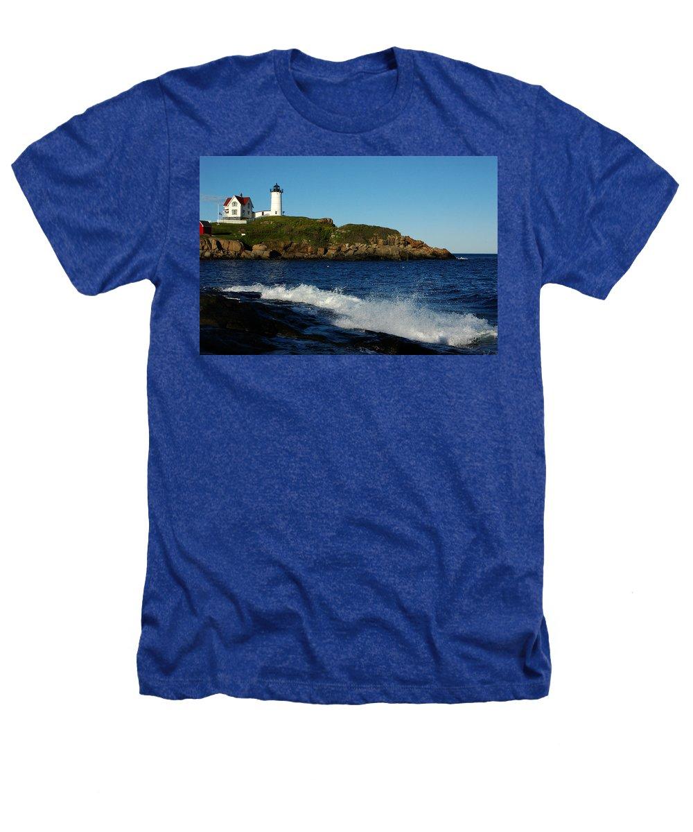Landscape Lighthouse Nautical New England Cape Neddick Nubble Light Heathers T-Shirt featuring the photograph Dnre0608 by Henry Butz