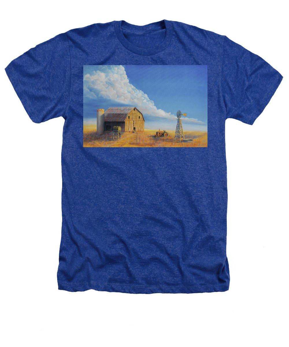 Barn Heathers T-Shirt featuring the painting Downtown Wyoming by Jerry McElroy