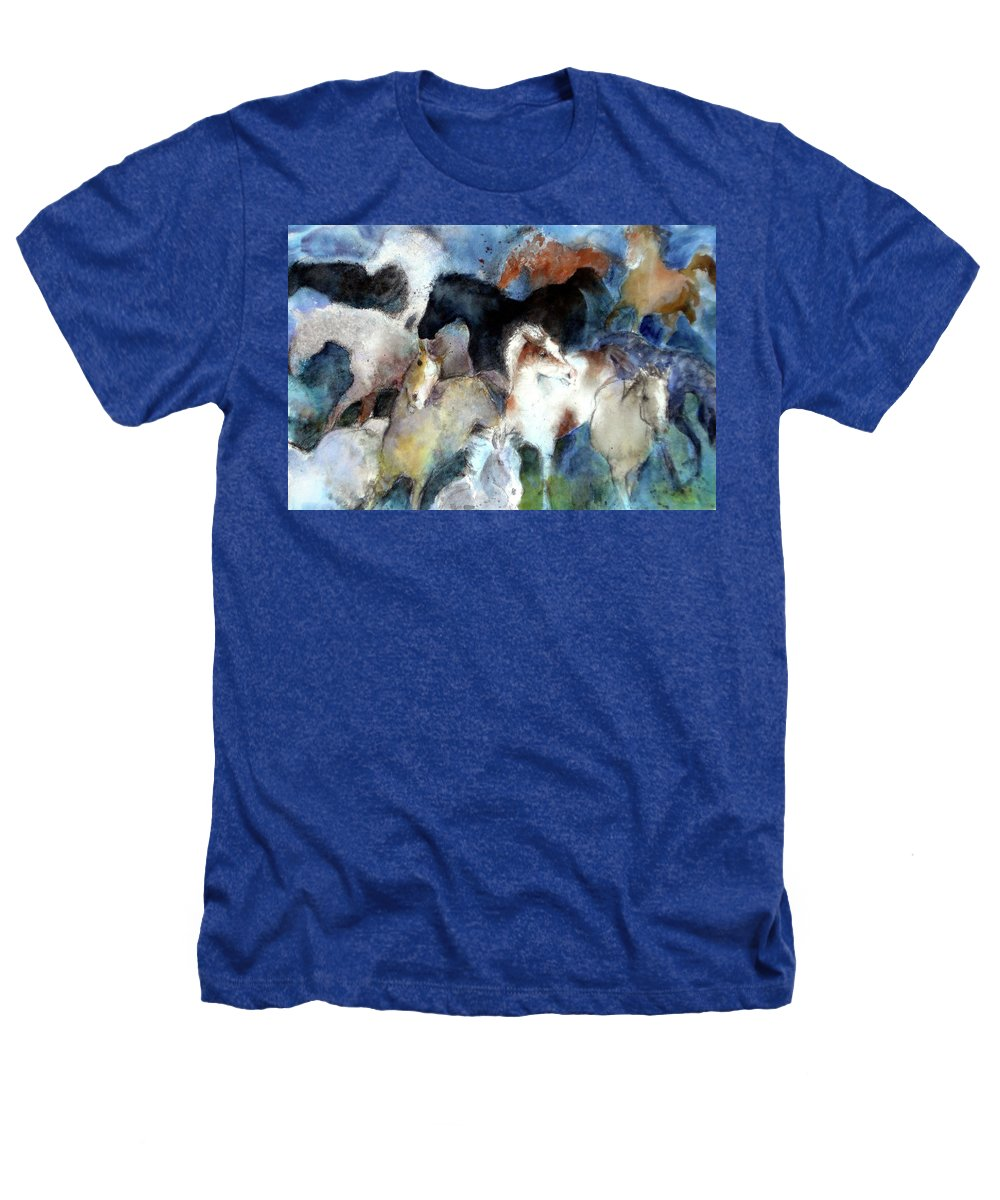 Horses Heathers T-Shirt featuring the painting Dream Of Wild Horses by Christie Martin