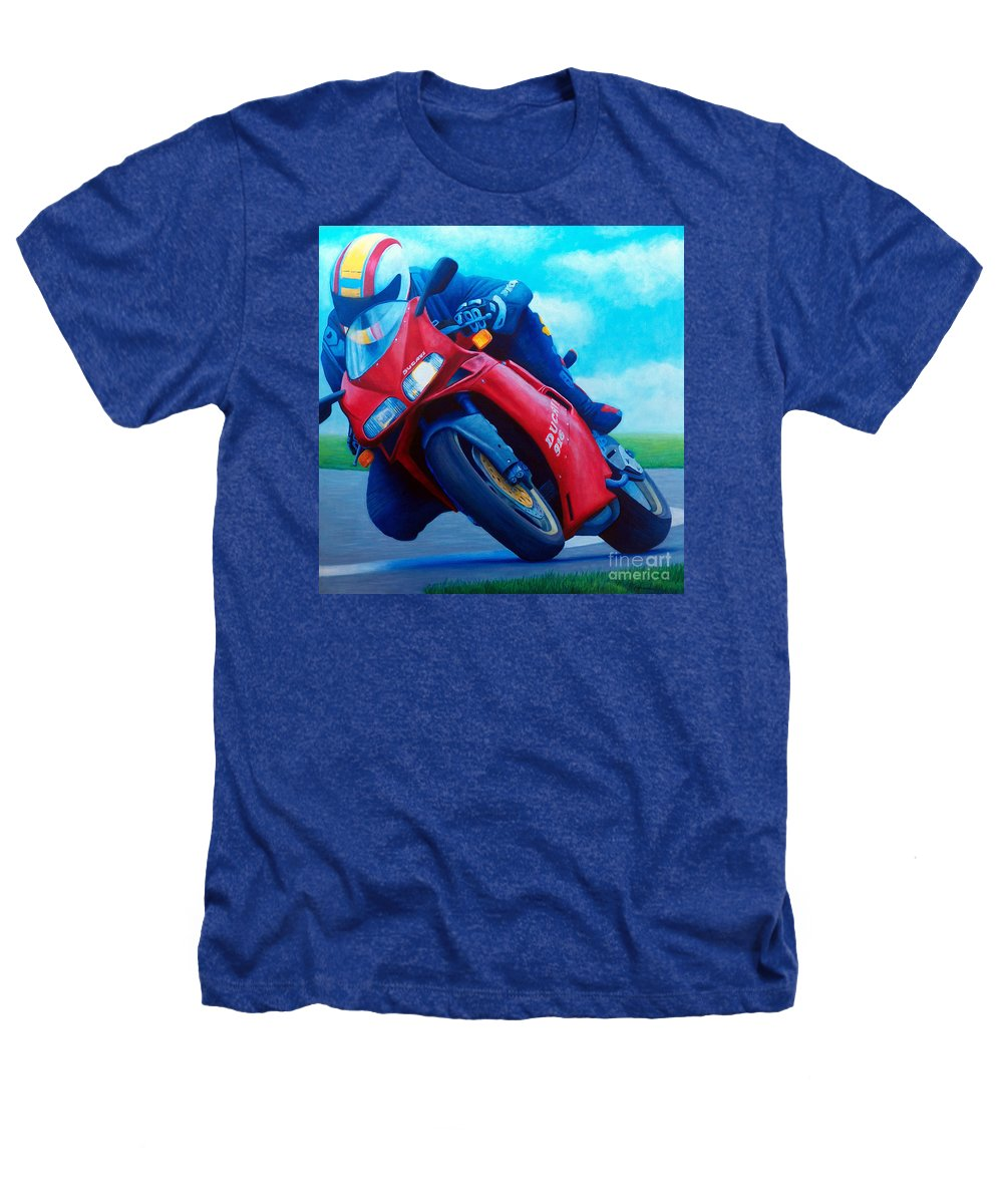 Motorcycle Heathers T-Shirt featuring the painting Ducati 916 by Brian Commerford