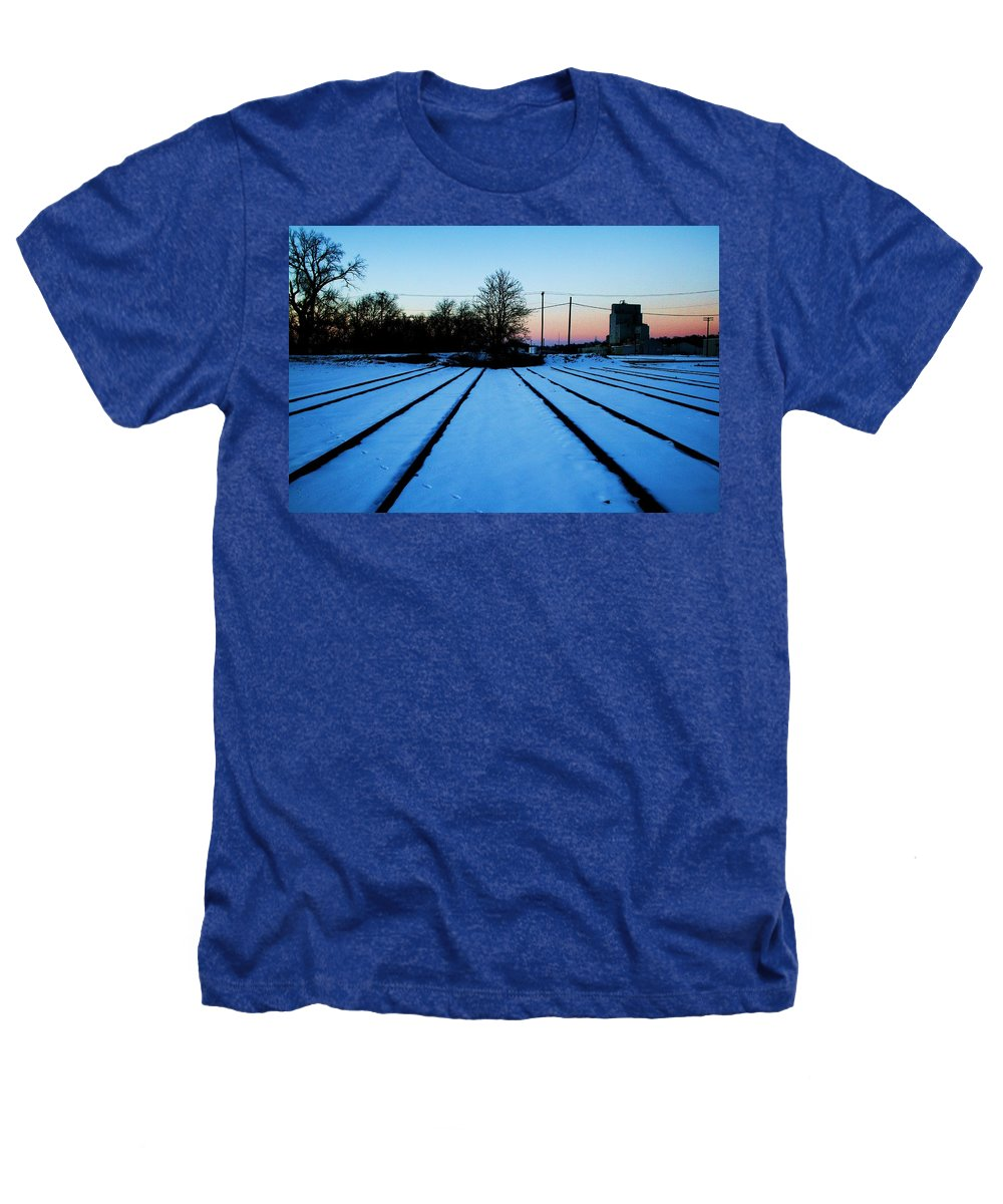 Sunset Heathers T-Shirt featuring the photograph End Of The Tracks by Angus Hooper Iii