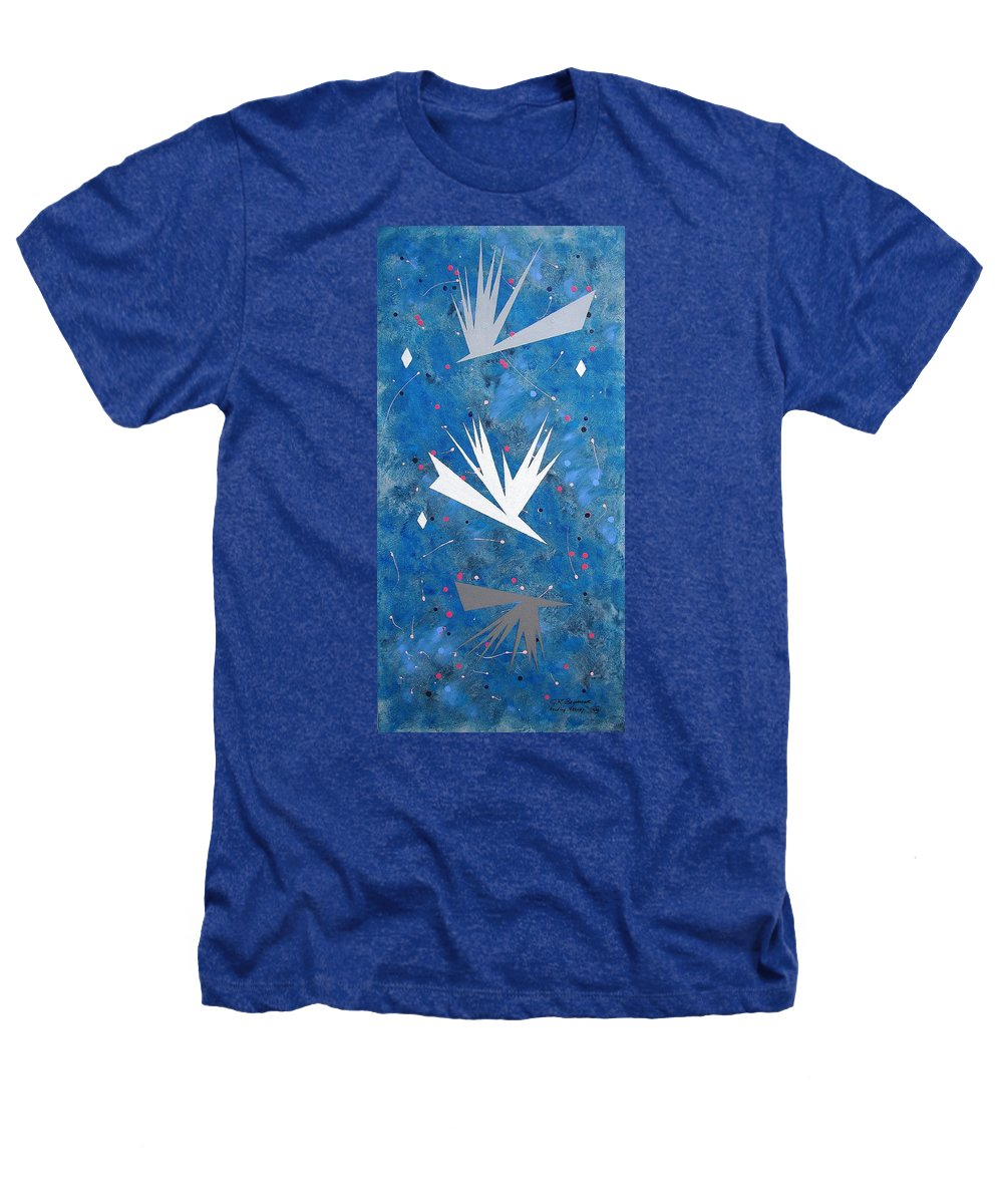 Birds And Diamond Stars Heathers T-Shirt featuring the painting Feeding Frenzy by J R Seymour