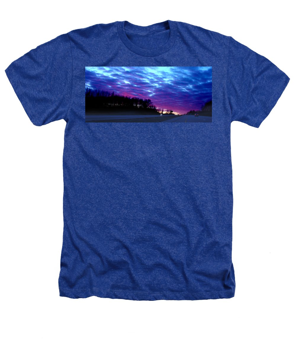 Landscape Heathers T-Shirt featuring the photograph I70 West Ohio by Steve Karol