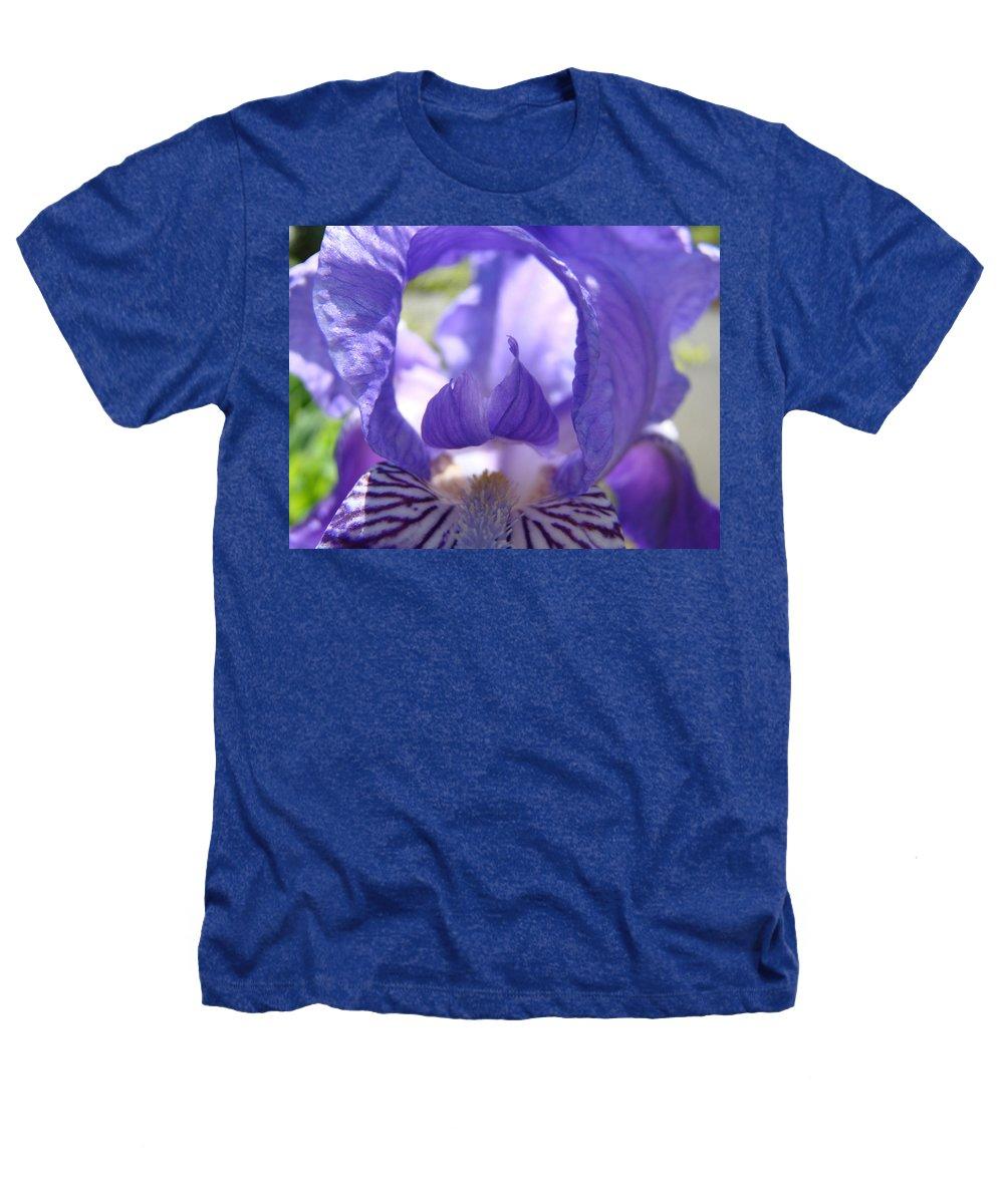 �irises Artwork� Heathers T-Shirt featuring the photograph Iris Flower Purple Irises Floral Botanical Art Prints Macro Close Up by Baslee Troutman
