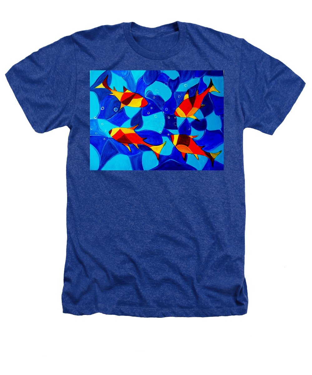 Abstract.acrylic.fish.bubbles.art.painting.modern.contemporary.popblue Red Bubbles Yellow Landscape Heathers T-Shirt featuring the painting Joy Fish Abstract by Manjiri Kanvinde