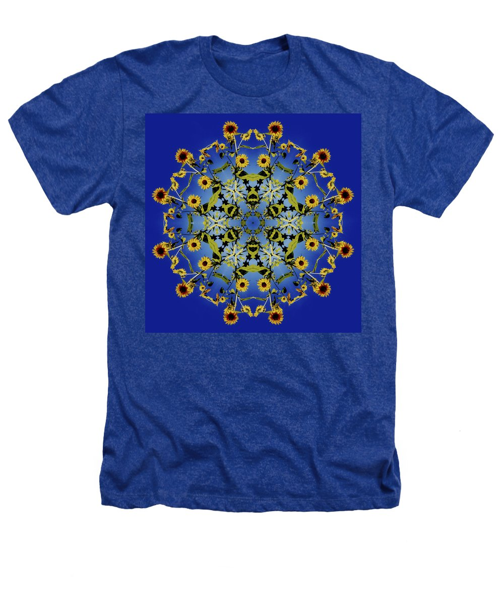 Mandala Heathers T-Shirt featuring the digital art Mandala Sunflower by Nancy Griswold