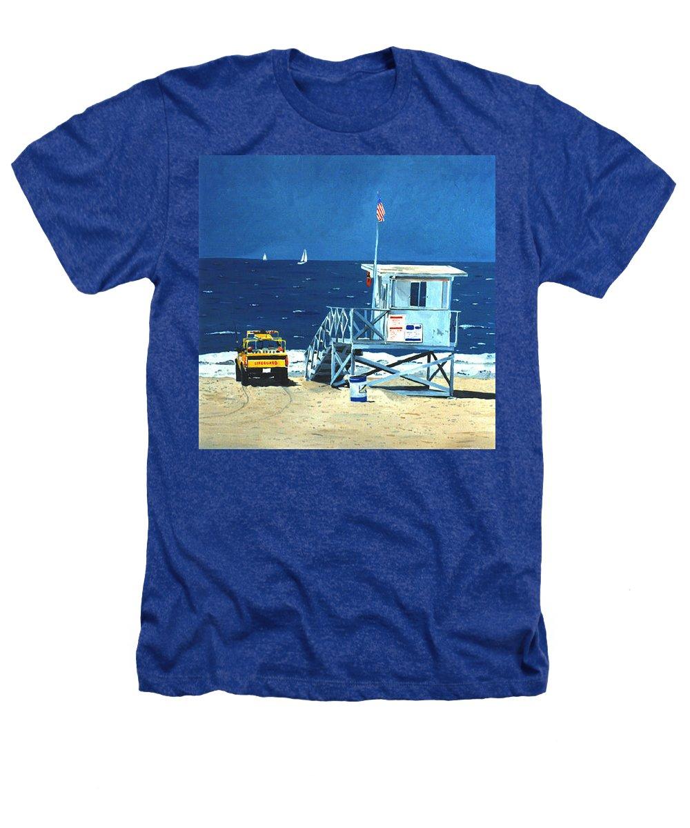 Modern Heathers T-Shirt featuring the painting Manhattan Beach Lifeguard Station by Lance Headlee