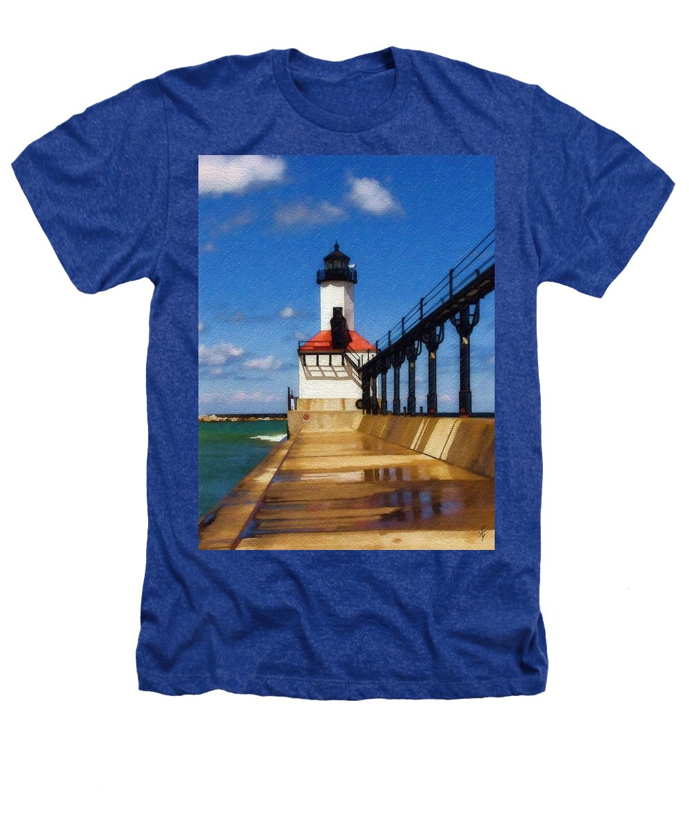 Lighthouse Heathers T-Shirt featuring the photograph Michigan City Light 1 by Sandy MacGowan