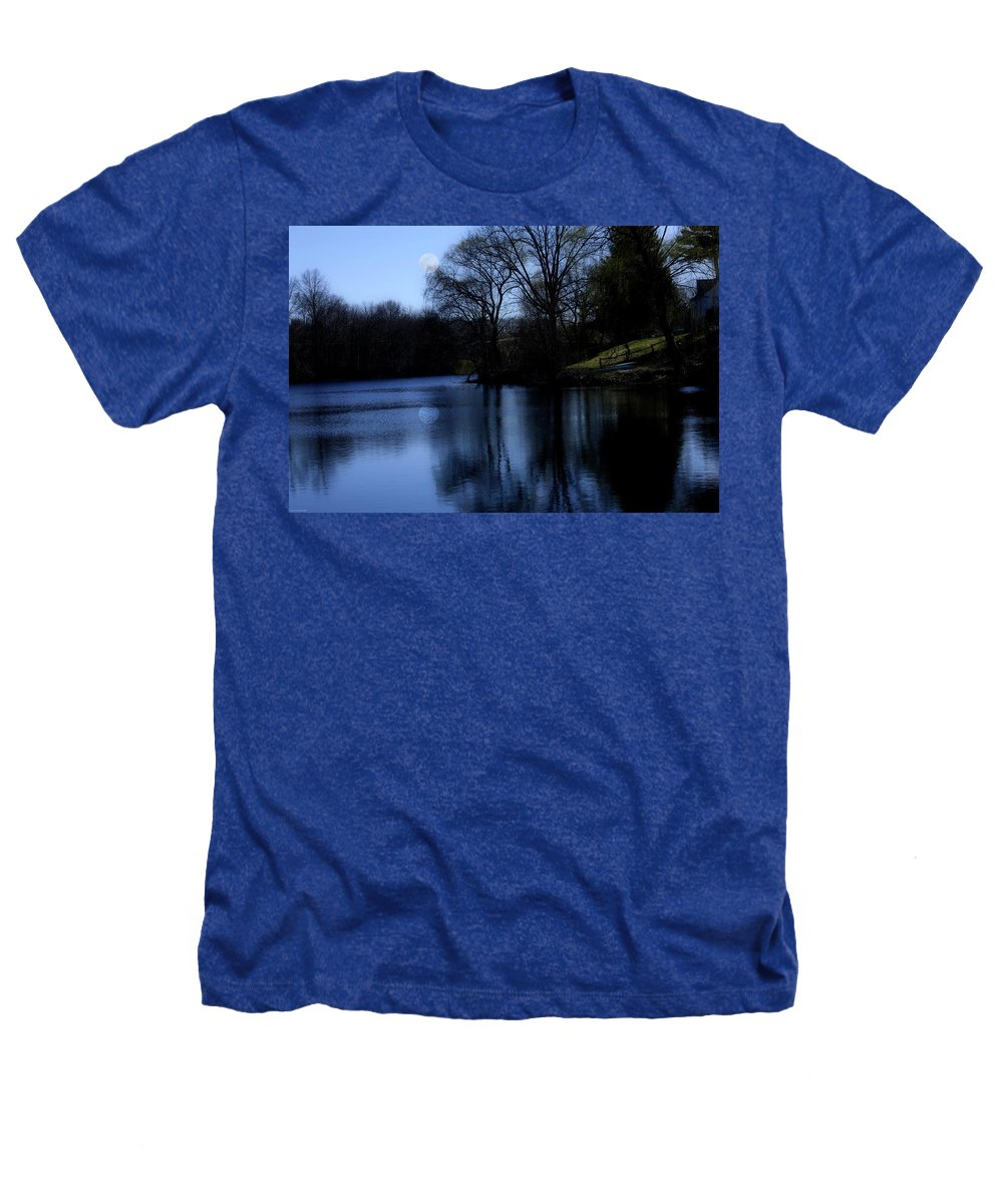 Moon Heathers T-Shirt featuring the digital art Moon Over The Charles by Edward Cardini