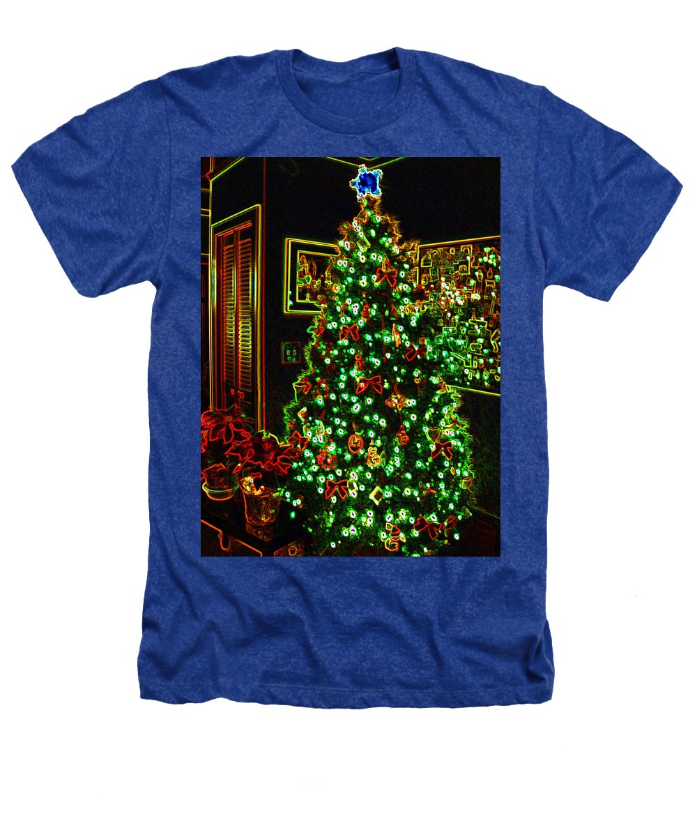 Christmas Heathers T-Shirt featuring the photograph Neon Christmas Tree by Nancy Mueller