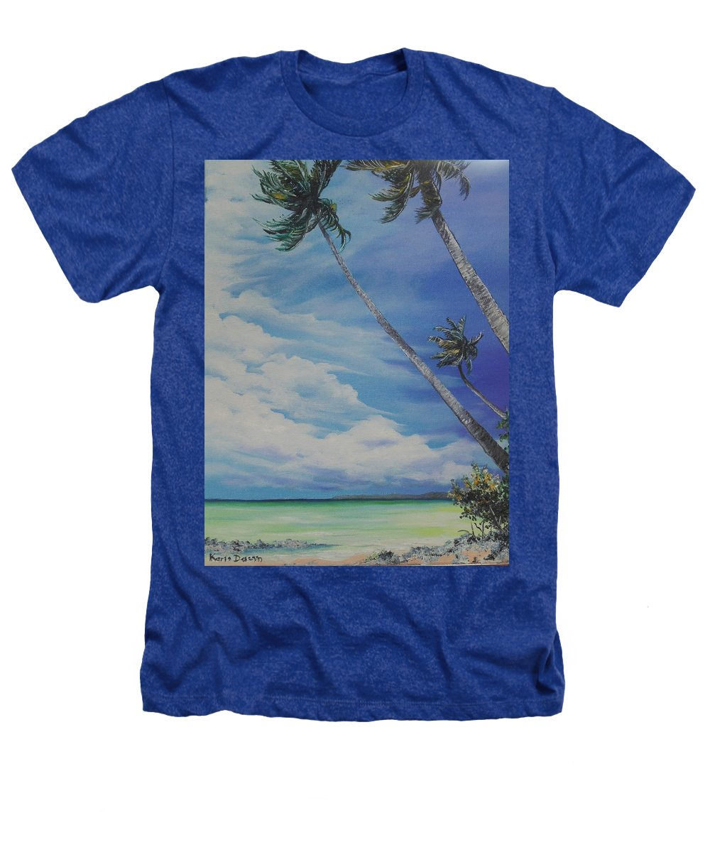 Trinidad And Tobago Seascape Heathers T-Shirt featuring the painting Nylon Pool Tobago. by Karin Dawn Kelshall- Best