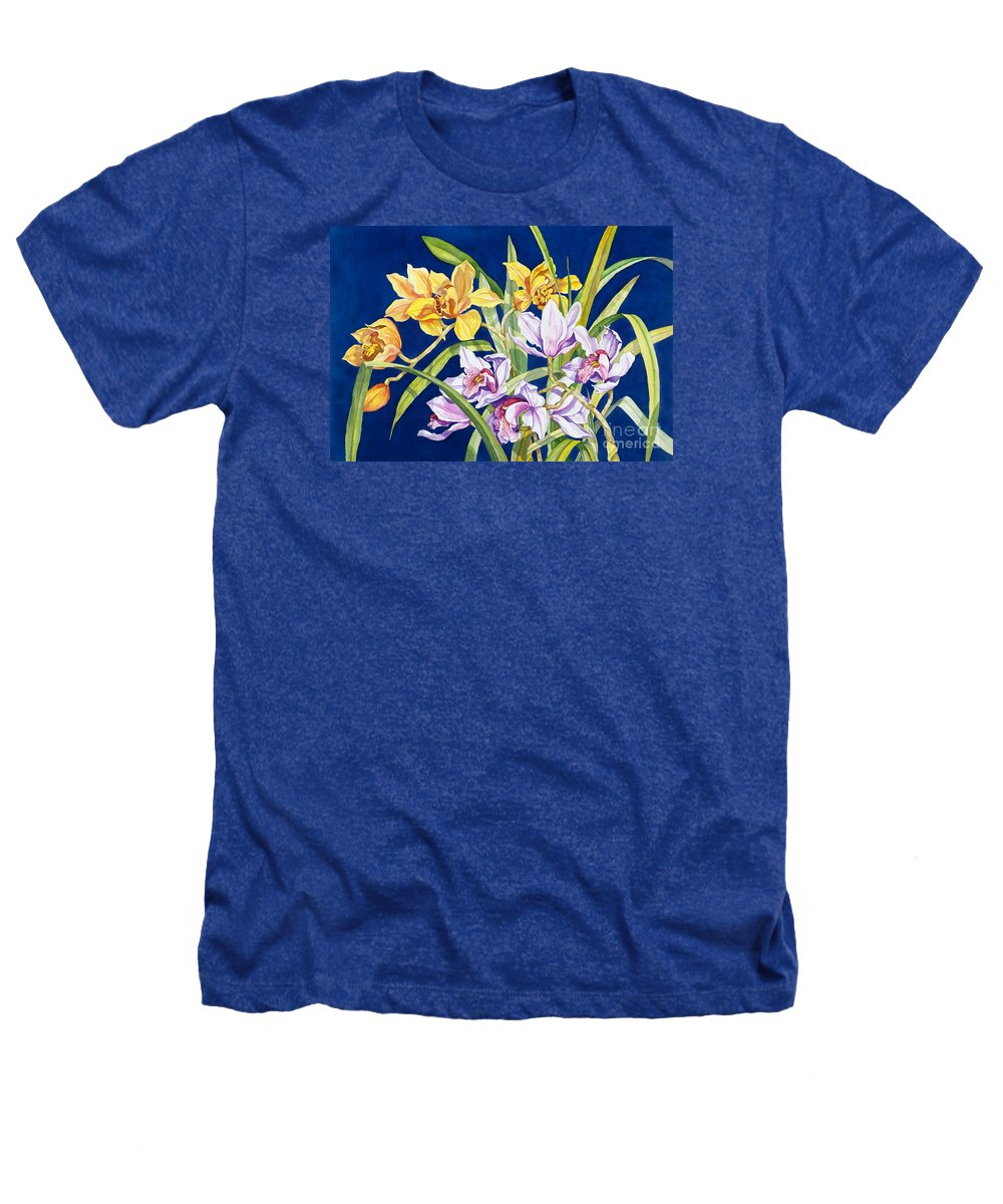Orchids Heathers T-Shirt featuring the painting Orchids In Blue by Lucy Arnold