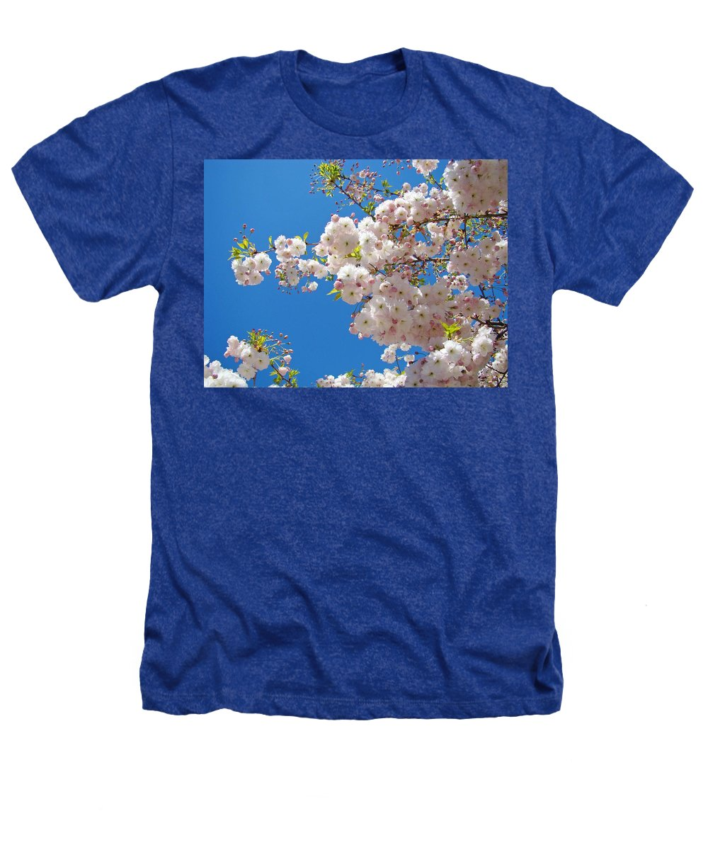 �blossoms Artwork� Heathers T-Shirt featuring the photograph Pink Tree Blossoms Art Prints 55 Spring Flowers Blue Sky Landscape by Baslee Troutman