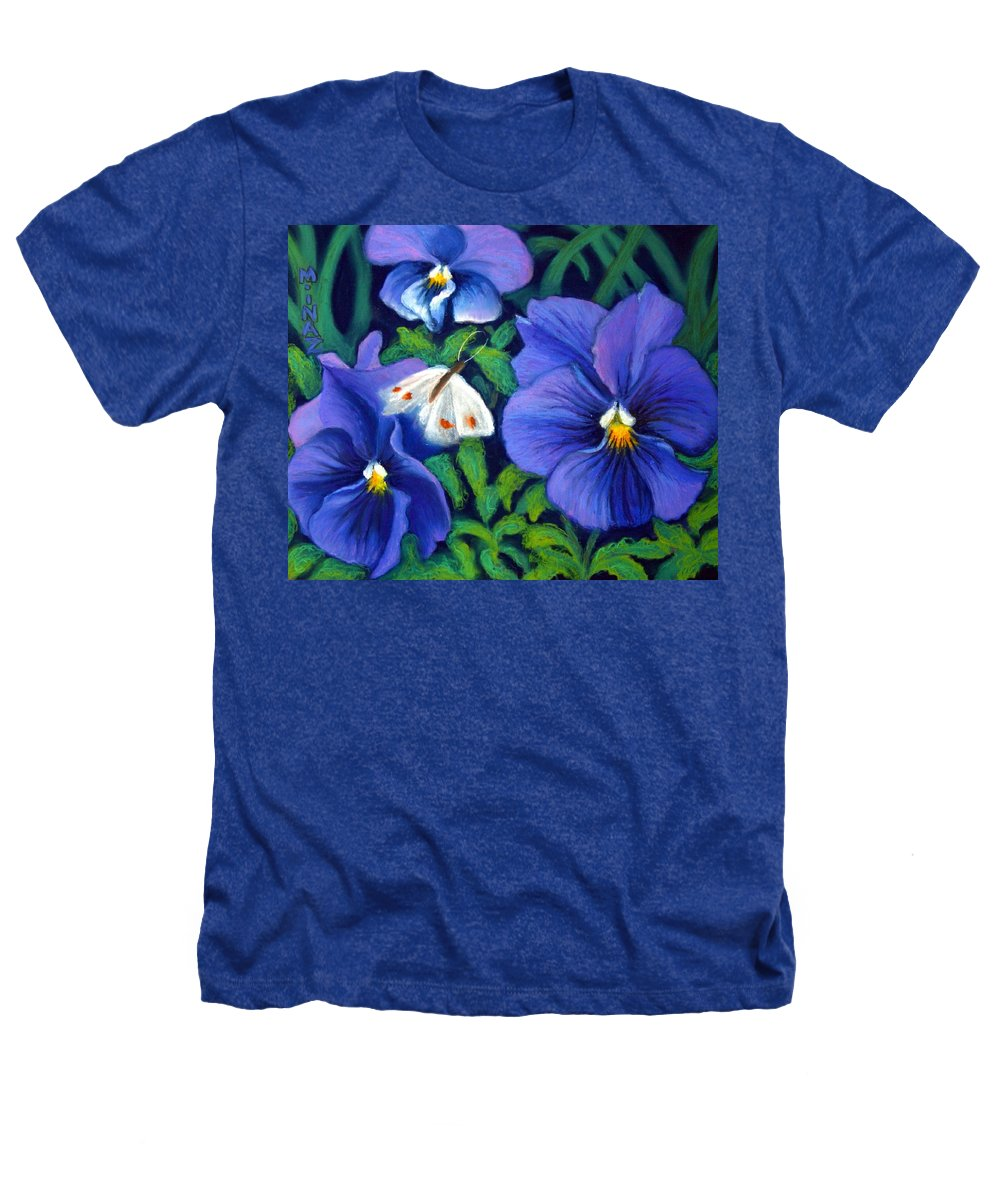 Pansy Heathers T-Shirt featuring the painting Purple Pansies And White Moth by Minaz Jantz