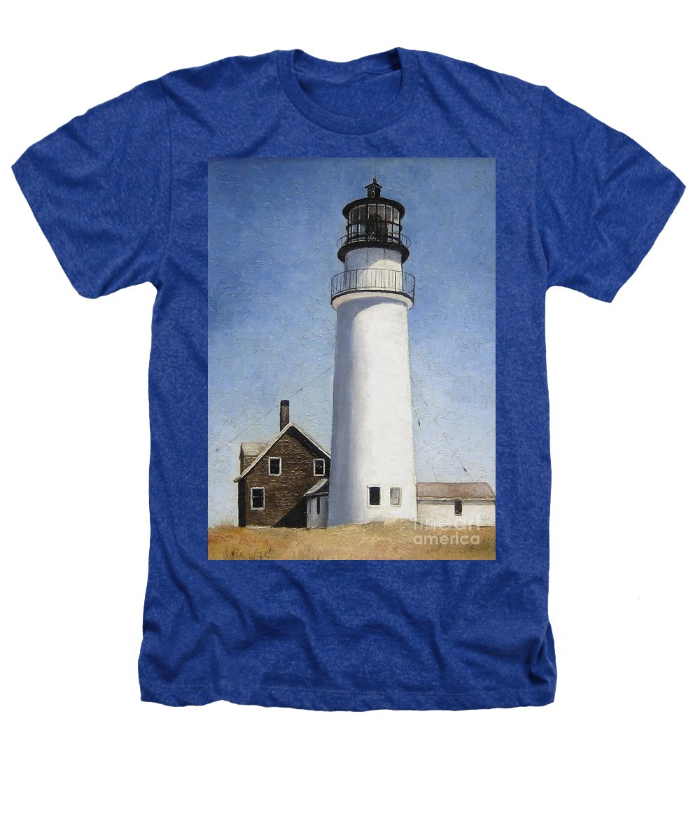 Lighthouse Heathers T-Shirt featuring the painting Rhode Island Lighthouse by Mary Rogers