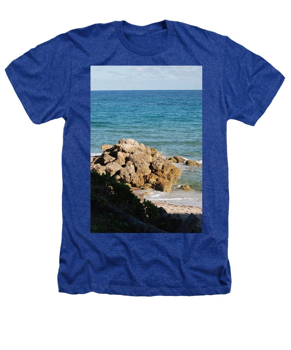 Sea Scape Heathers T-Shirt featuring the photograph Rocky Shoreline by Rob Hans