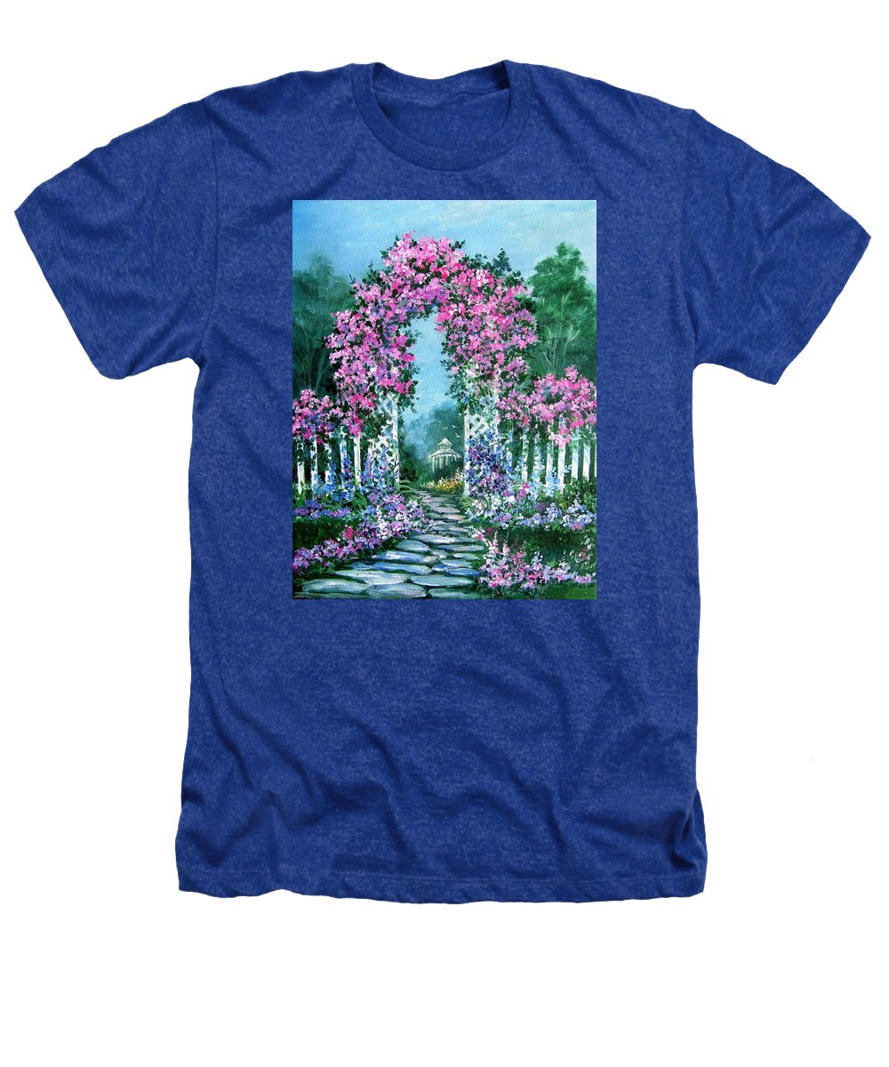 Roses;floral;garden;picket Fence;arch;trellis;garden Walk;flower Garden; Heathers T-Shirt featuring the painting Rose-covered Trellis by Lois Mountz