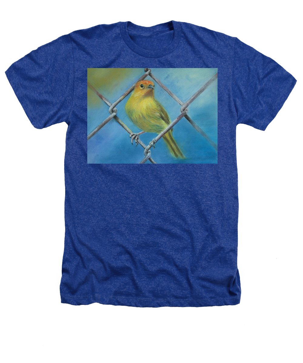 Bird Heathers T-Shirt featuring the painting Safron Finch by Ceci Watson