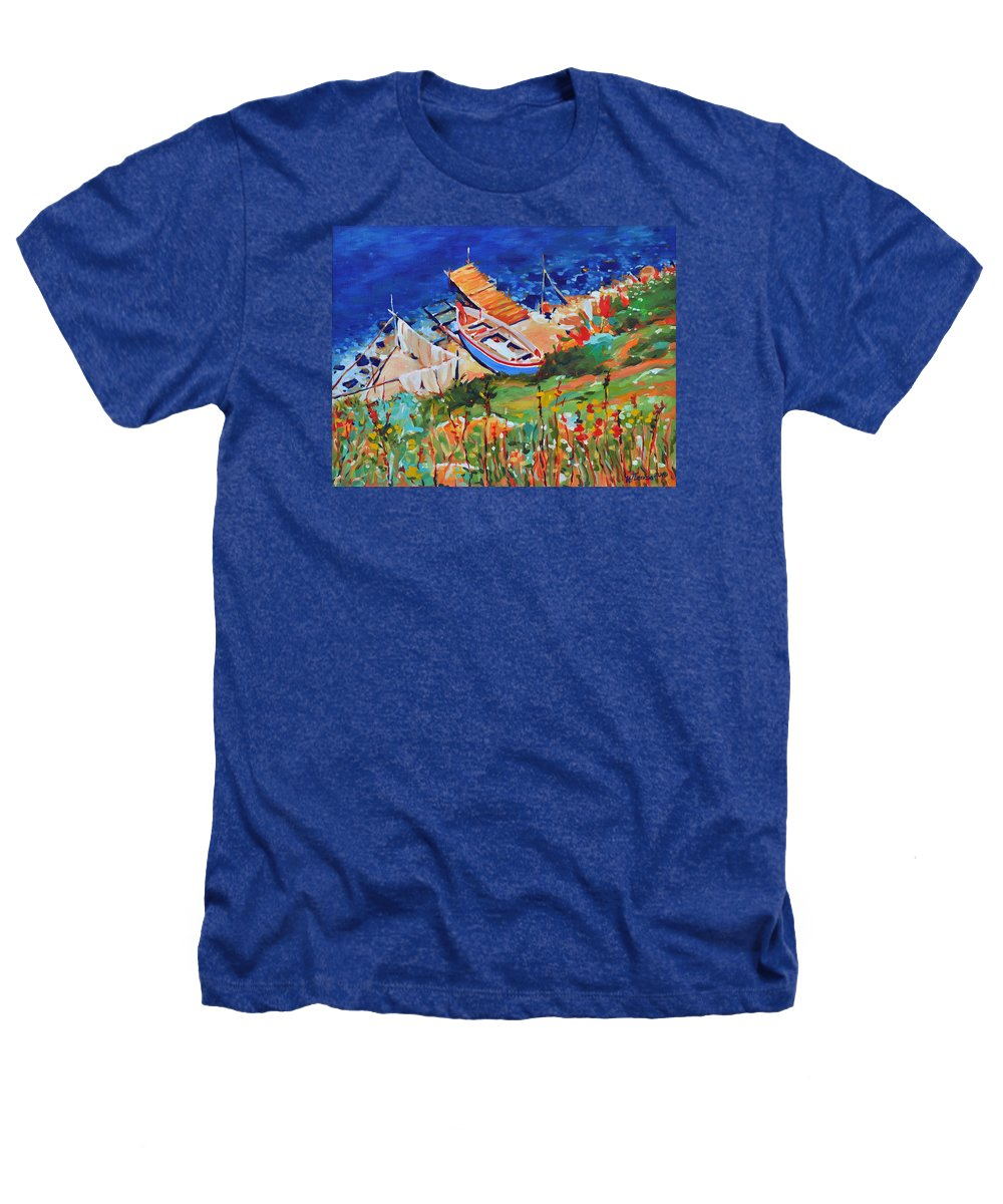 Seascape Heathers T-Shirt featuring the painting Seacoast by Iliyan Bozhanov