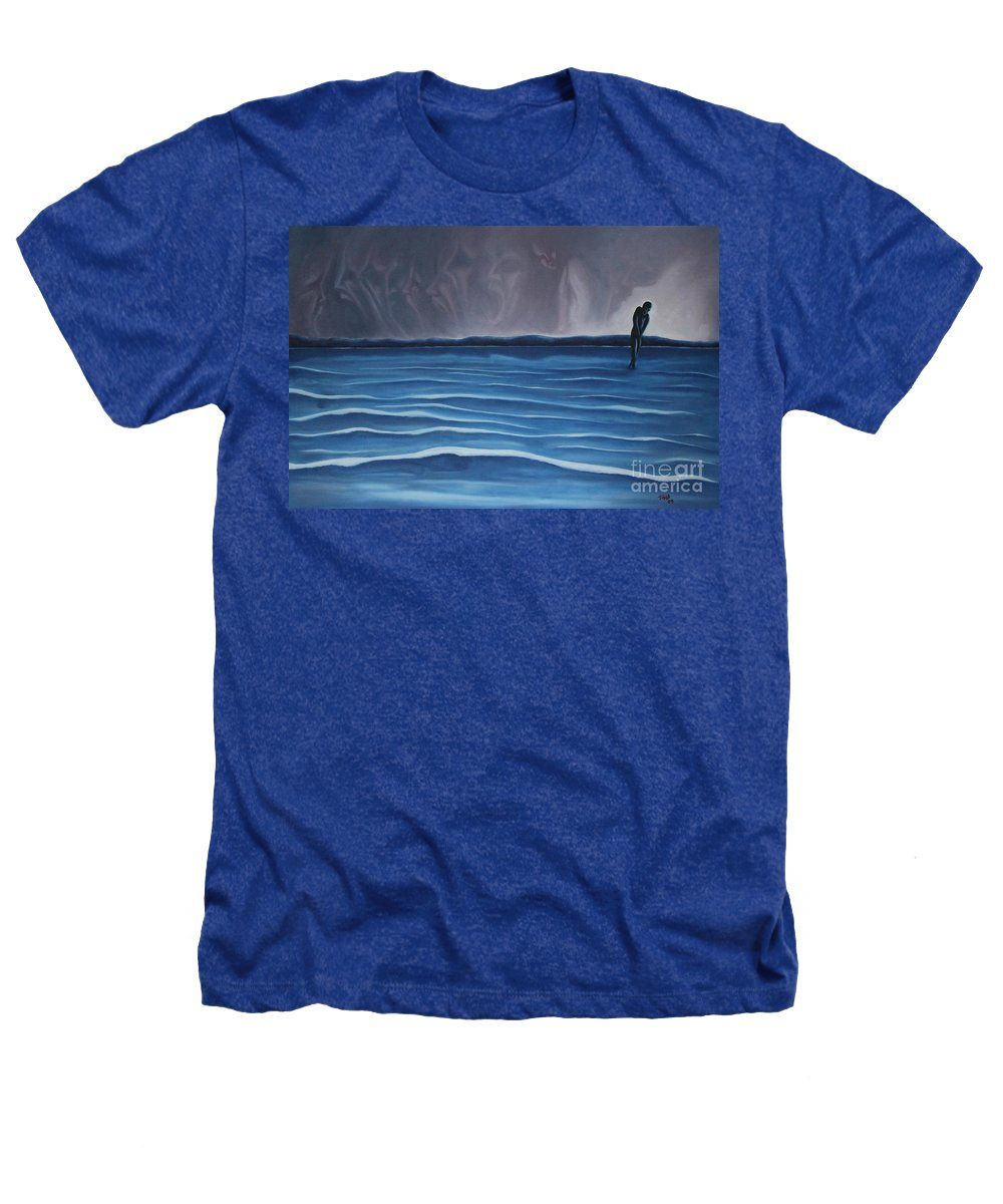 Tmad Heathers T-Shirt featuring the painting Solitude by Michael TMAD Finney