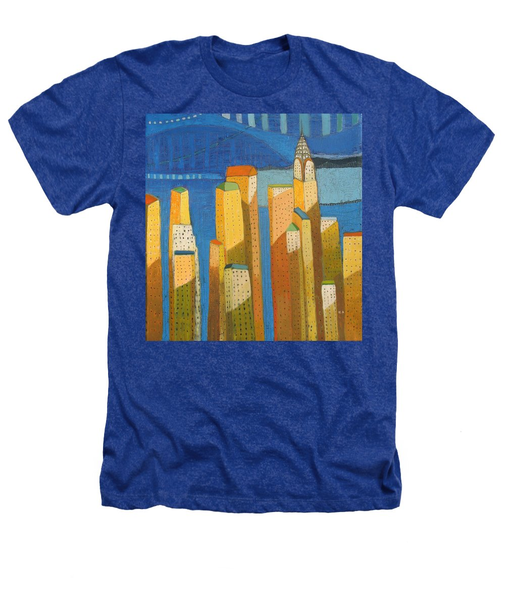 Abstract Cityscape Heathers T-Shirt featuring the painting Standing High by Habib Ayat