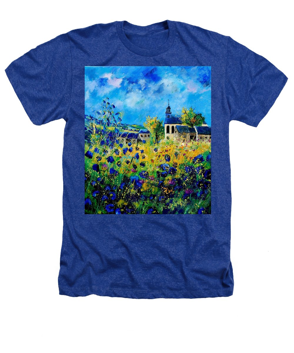 Poppies Heathers T-Shirt featuring the painting Summer In Foy Notre Dame by Pol Ledent