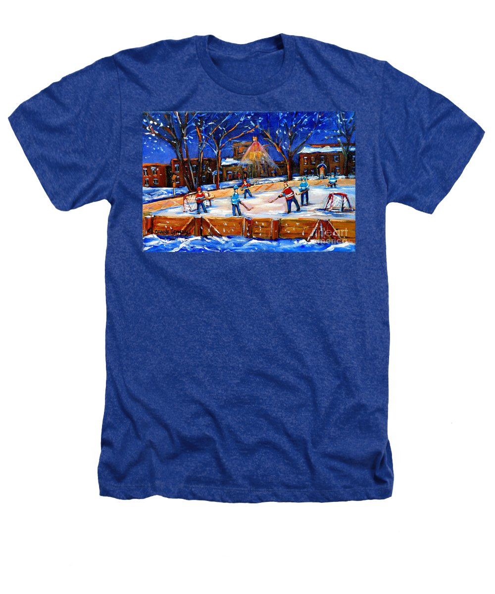 Montreal Heathers T-Shirt featuring the painting The Neighborhood Hockey Rink by Carole Spandau