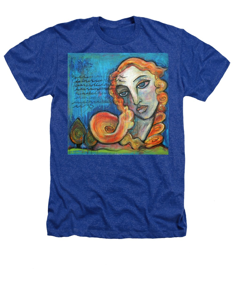Venus Heathers T-Shirt featuring the painting Venus Lets Go by Laurie Maves ART