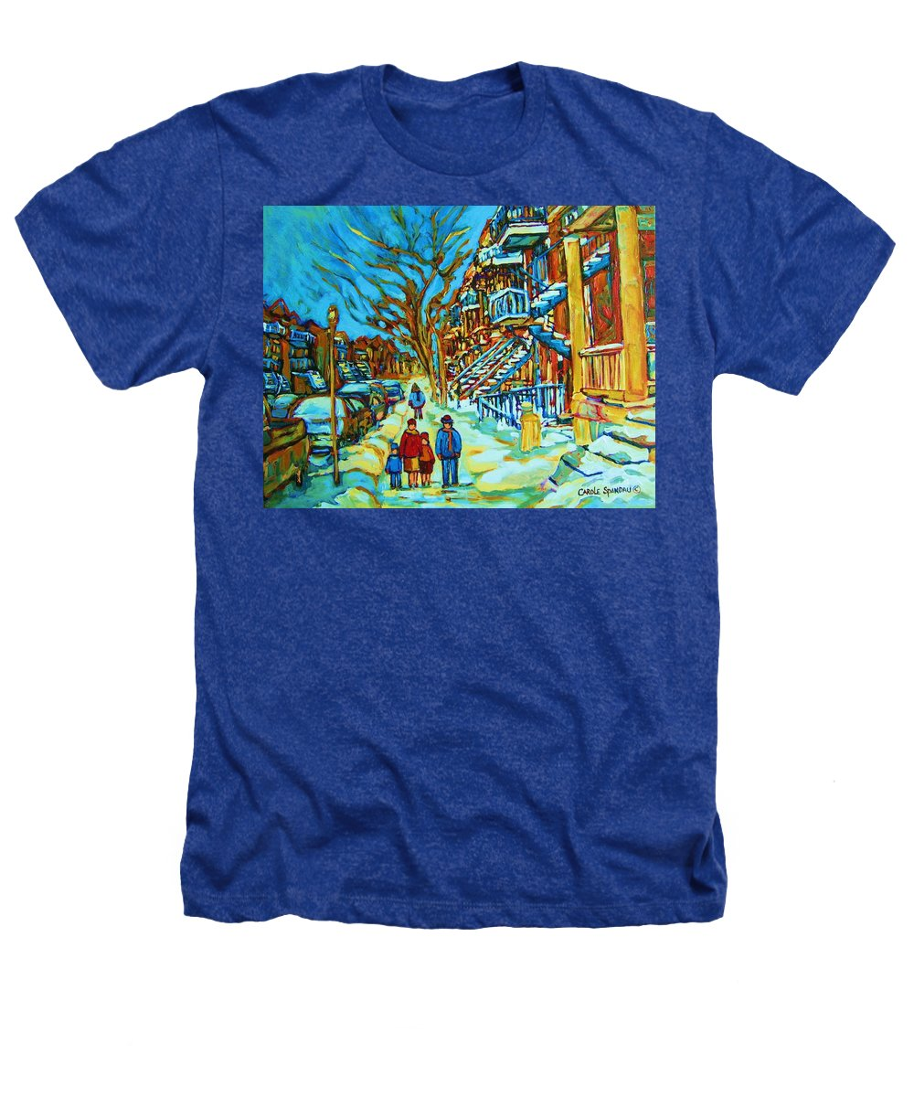 Winterscenes Heathers T-Shirt featuring the painting Winter Walk In The City by Carole Spandau
