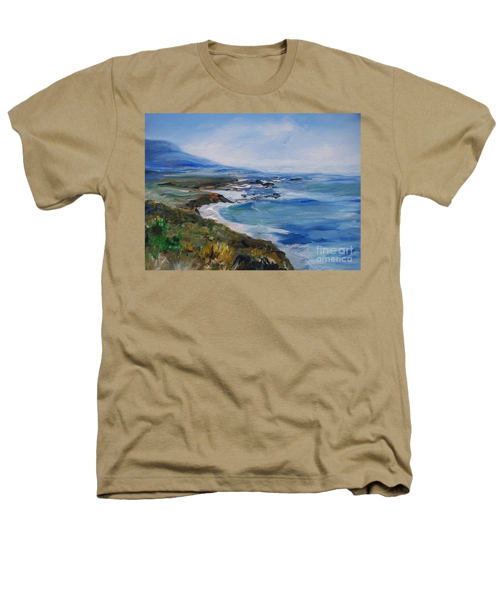 California Coast Heathers T-Shirt featuring the painting Big Sur Coastline by Eric Schiabor
