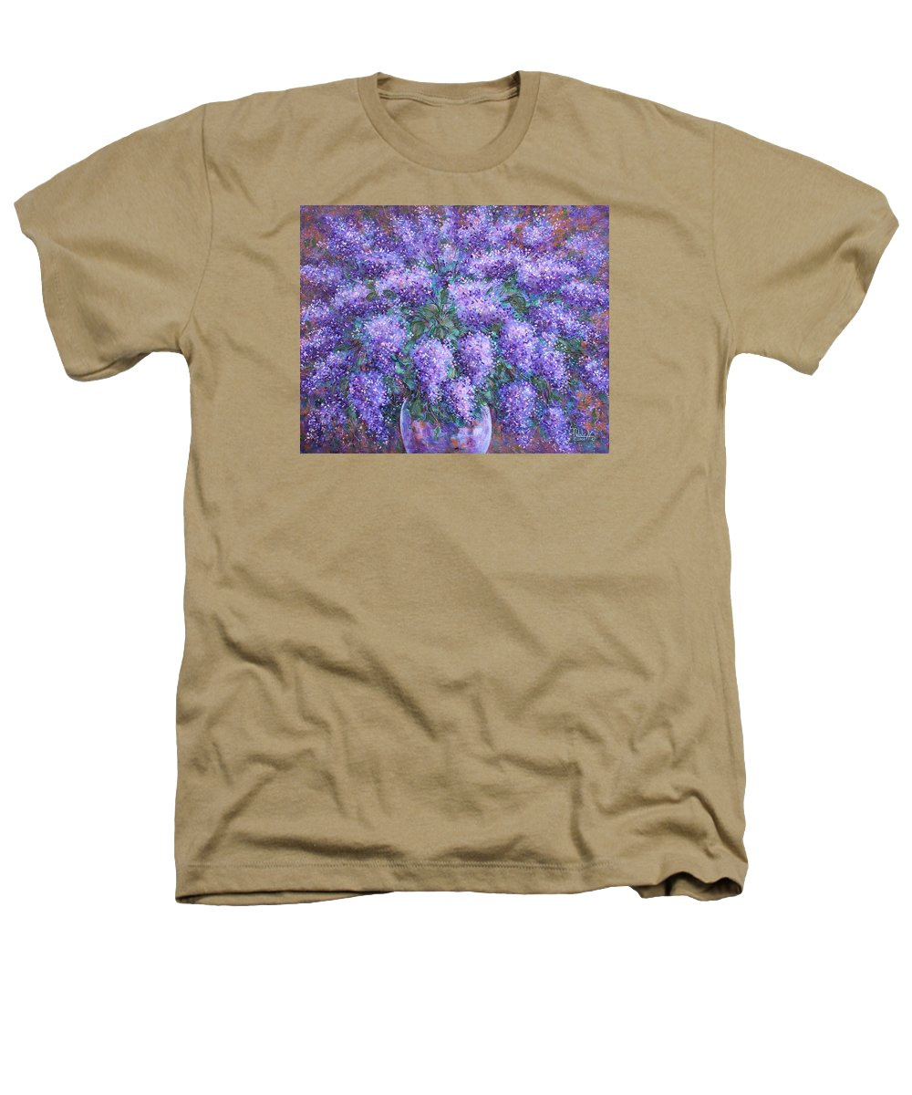 Flowers Heathers T-Shirt featuring the painting Scented Lilacs Bouquet by Natalie Holland