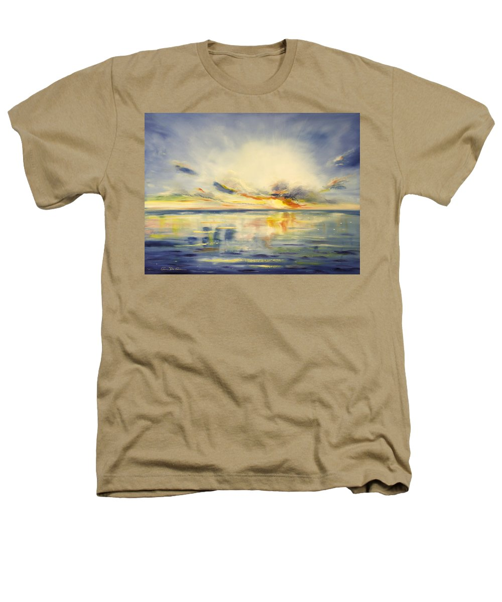 Blue Heathers T-Shirt featuring the painting Blue Sunset by Gina De Gorna