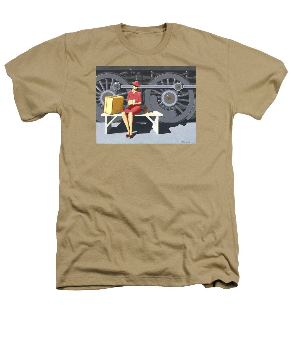 Woman Heathers T-Shirt featuring the painting Woman With Locomotive by Gary Giacomelli