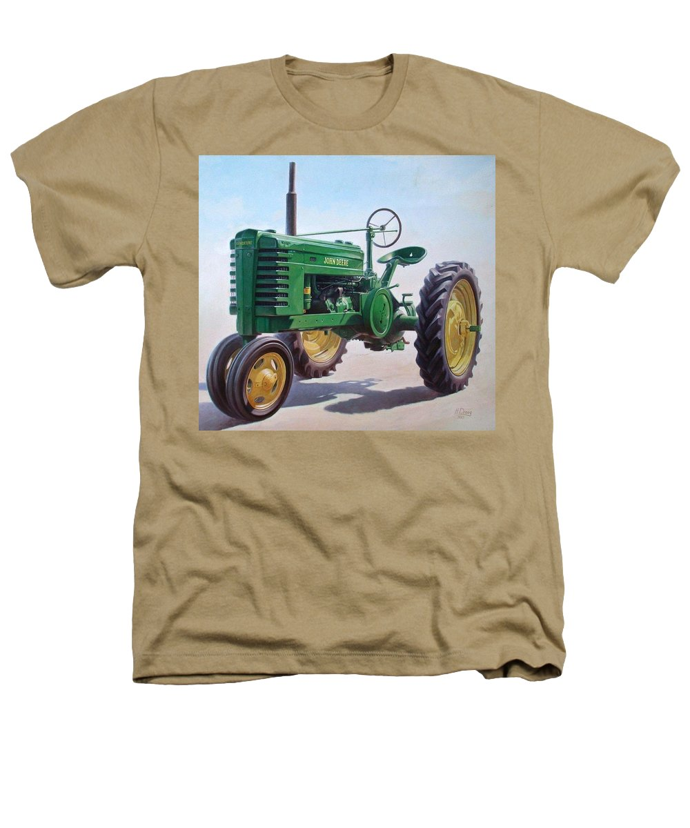 Tractor Heathers T-Shirt featuring the painting John Deere Tractor by Hans Droog