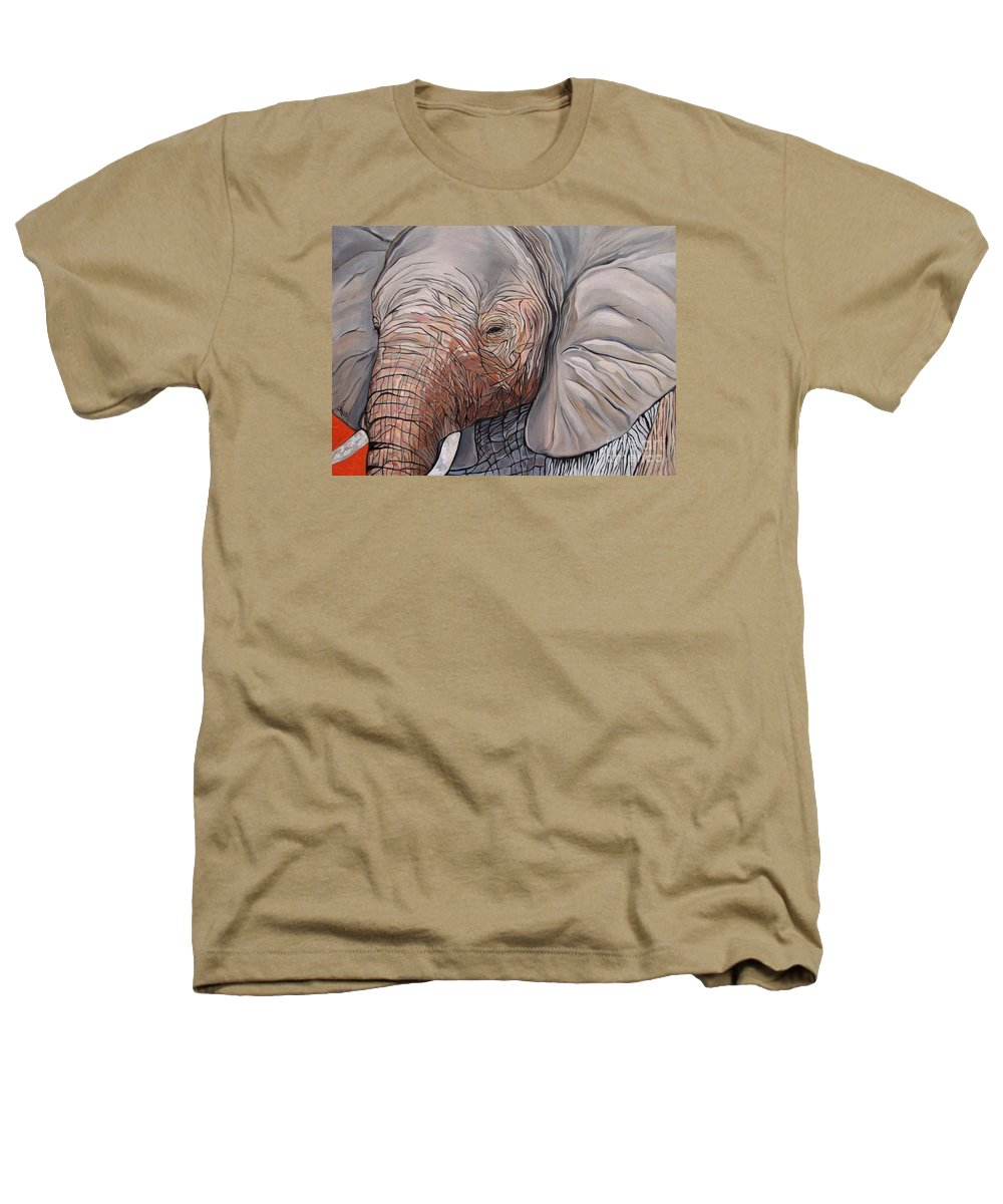 Elephant Bull Painting Heathers T-Shirt featuring the painting Are You There by Aimee Vance