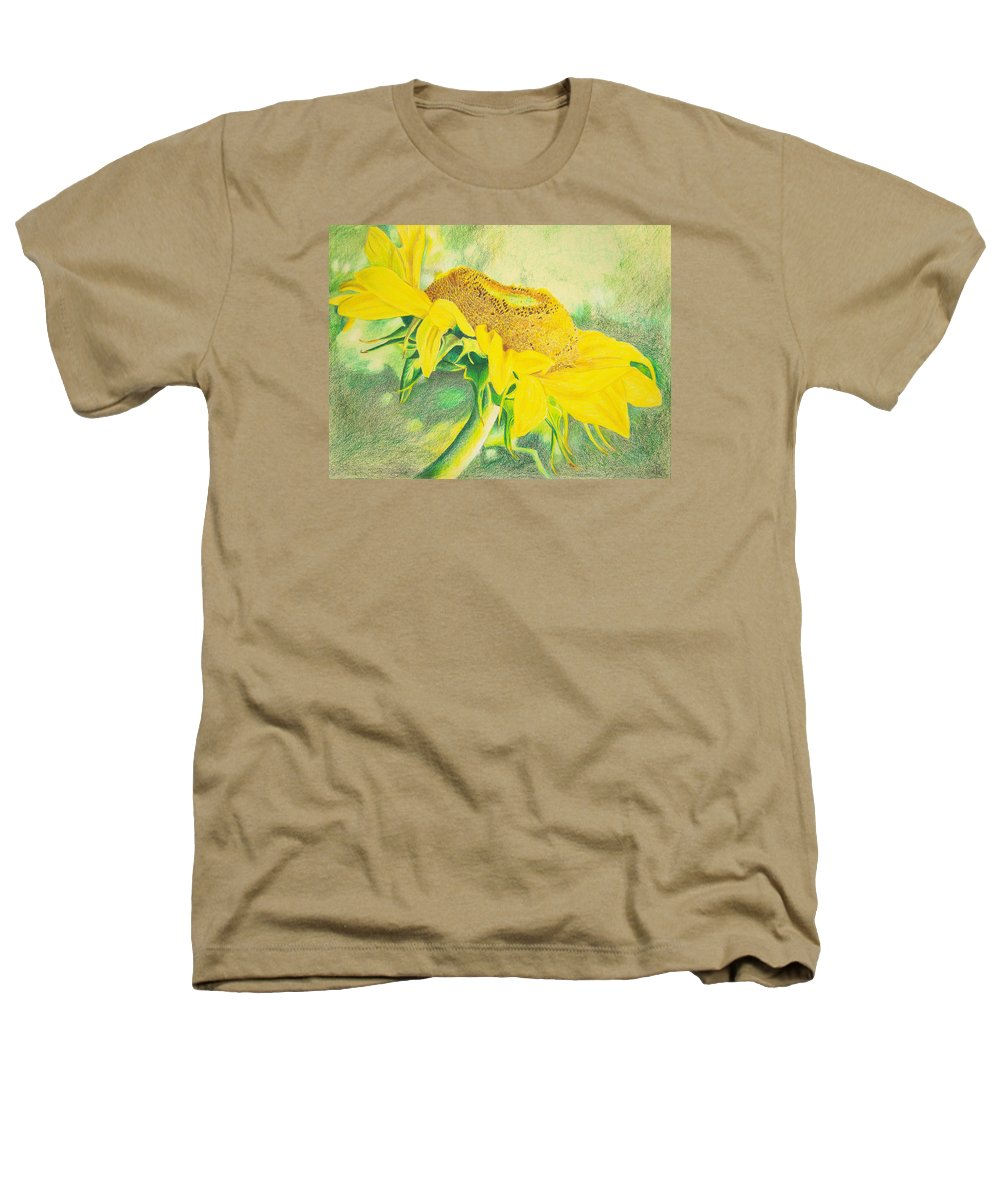 Sunflower Art Print Heathers T-Shirt featuring the mixed media Sunflower Print Art For Sale Colored Pencil Floral by Diane Jorstad