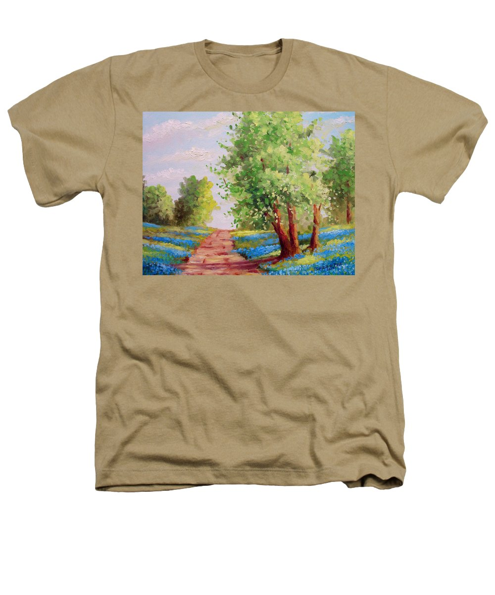 Bluebonnets Heathers T-Shirt featuring the painting Backroad Bluebonnets by David G Paul