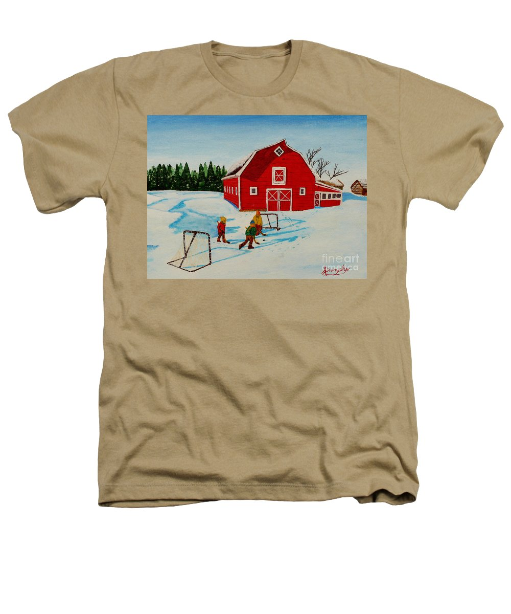Hockey Heathers T-Shirt featuring the painting Barn Yard Hockey by Anthony Dunphy