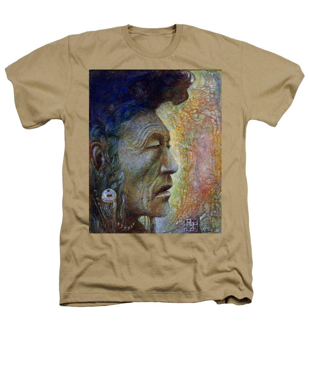 Bear Bull Heathers T-Shirt featuring the painting Bear Bull Shaman by Otto Rapp