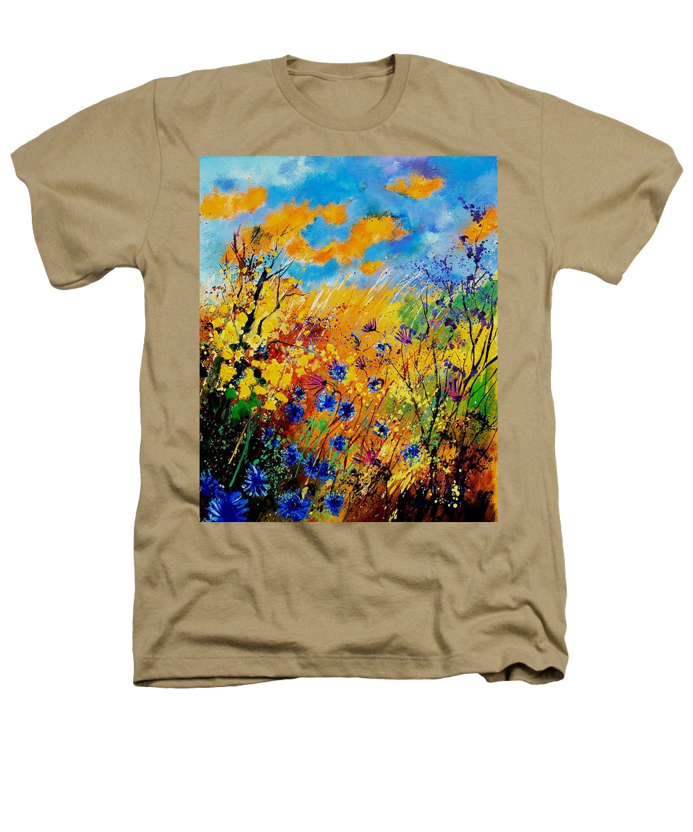 Poppies Heathers T-Shirt featuring the painting Blue Cornflowers 450408 by Pol Ledent