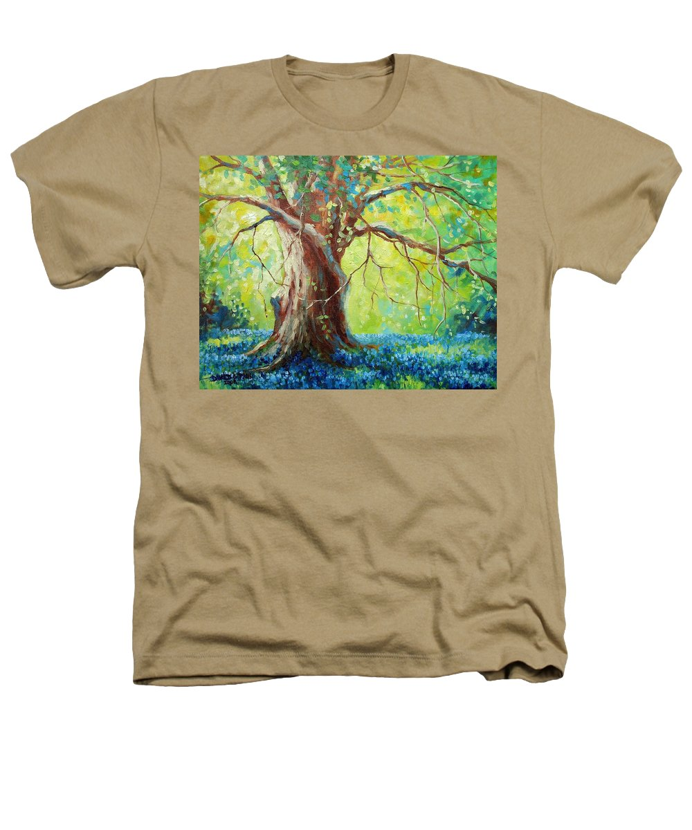 Bluebonnets Heathers T-Shirt featuring the painting Bluebonnets Under The Oak by David G Paul