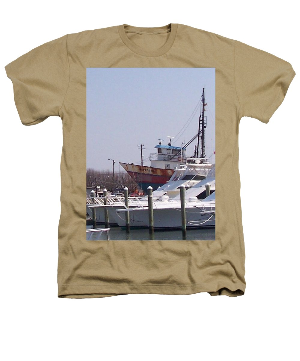 Boat Heathers T-Shirt featuring the photograph Boats Docked by Pharris Art